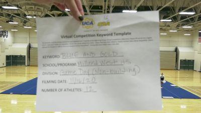Millard West High School [Game Day - Varsity Non Building] 2020 UCA Mid America Virtual Regional