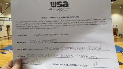 Benjamin Franklin High School [Varsity Show Cheer Novice] 2021 USA Virtual West Coast Spirit Championships