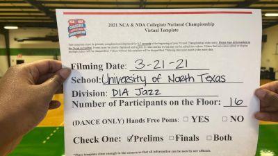 University of North Texas [Divison IA Jazz Virtual Prelims] 2021 NCA & NDA Collegiate Cheer & Dance Championship