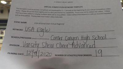Corner Canyon High School [Varsity Show Cheer Advanced] 2020 USA Arizona & Utah Virtual Regional
