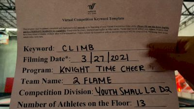 Knight Time Cheer - 2Flame [L2 Youth - D2 - Small] 2021 The Regional Summit Virtual Championships