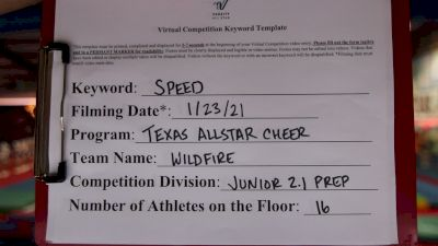 Texas Allstar Cheer and Dance - Wildfire [L2.1 Junior - PREP] 2021 Varsity All Star Winter Virtual Competition Series: Event I