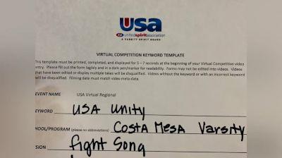 Costa Mesa High School [High School – Fight Song – Cheer] 2020USA Virtual Regional