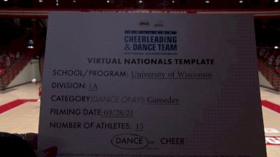 University of Wisconsin [Virtual Division IA Game Day Semi Finals] 2021 UCA & UDA College Cheerleading & Dance Team National Championship
