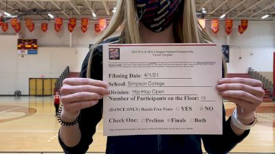 Simpson College [Virtual Hip Hop Open Finals] 2021 NCA & NDA Collegiate Cheer & Dance Championship