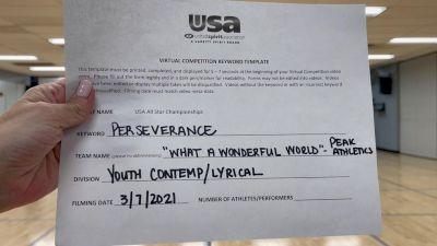 Peak Athletics - What a Wonderful World [Youth - Contemporary/Lyrical] 2021 USA All Star Virtual Championships