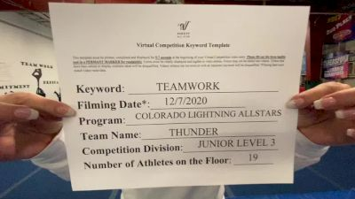 Colorado Lightning Athletics - Thunder [Level 3 L3 Junior - D2 - Small - B] Varsity All Star Virtual Competition Series: Event VII