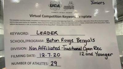 Baton Rouge Bengals [Traditional Open Recreation - 12 & Younger (NON)] 2020 UCA Louisiana Virtual Regional