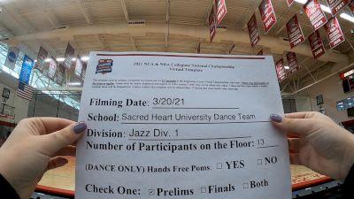 Sacred Heart University [Virtual Division I - Jazz Prelims] 2021 NCA & NDA Collegiate Cheer & Dance Championship