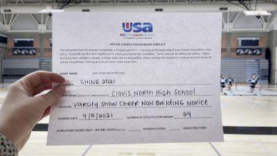 Clovis North High School [Varsity Show Cheer Non Building Novice Prelims] USA Spirit & Dance Virtual National Championships