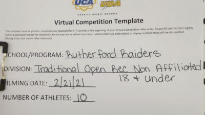Rutherford Raiders [Traditional Open Rec Non Affiliated 18 & Younger] 2021 UCA February Virtual Challenge