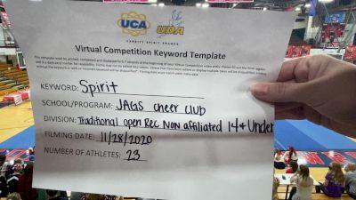 JAGS Cheer Club [Traditional Recreation - 14 & Younger (NON)] 2020 UCA Hoosier Virtual Regional
