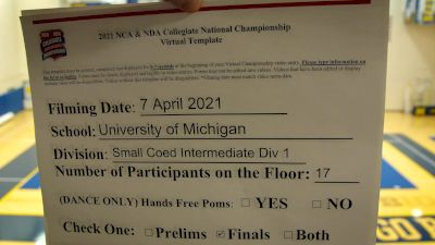University of Michigan [Virtual Intermediate Small Coed Division IA Finals] 2021 NCA & NDA Collegiate Cheer & Dance Championship