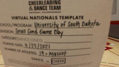 University of South Dakota [Virtual Small Coed Game Day - Cheer Finals] 2021 UCA & UDA College Cheerleading & Dance Team National Championship
