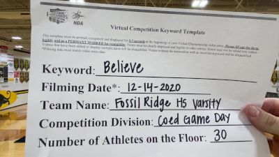 Fossil Ridge High School [Game Day Coed Varsity] 2020 NCA December Virtual Championship