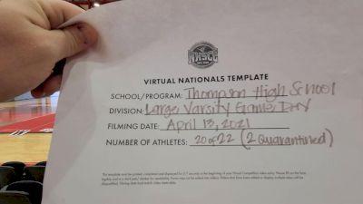 Thompson High School [Game Day Large Varsity Virtual Finals] 2021 UCA National High School Cheerleading Championship