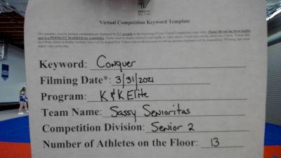 K & K Cheer Empire - Sassy Senioritas [L2 Senior - D2] 2021 Varsity All Star Winter Virtual Competition Series: Event V