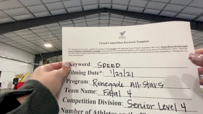 Renegade All Stars - Fatal 4 [L4 Senior - D2] 2021 Varsity All Star Winter Virtual Competition Series: Event I