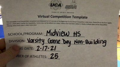 Midview High School [Game Day Varsity Non-Building] 2021 UCA February Virtual Challenge
