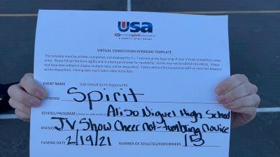 Aliso Niguel High School [Junior Varsity Show Cheer Non Building Novice] 2021 USA Virtual Spirit Regional #3