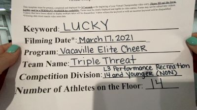 Vacaville Elite Cheer - Triple Threat [L3 Performance Recreation - 14 and Younger (NON)] 2021 NCA & NDA Virtual March Championship
