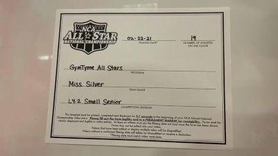 Gym Tyme - Miss Silver [L4.2 Senior - Small] 2021 NCA All-Star Virtual National Championship