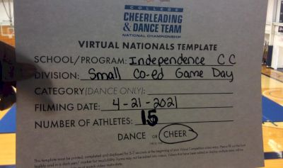 Independence Community College [Game Day - Small Coed Virtual Finals] 2021 UCA & UDA College Cheerleading & Dance Team National Championship