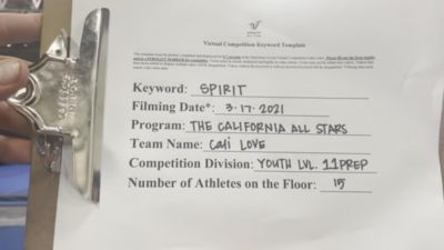 The California All Stars - Las Vegas - Love [L1 Youth - Small] 2021 PacWest Virtual Championship