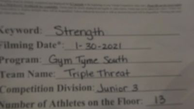 Gym Tyme - Triple Threat [L3 Junior - Small] 2021 Varsity All Star Winter Virtual Competition Series: Event II