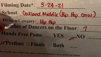Oakland Middle School Hip Hop Crew [Virtual Jr. High/Middle School - Hip Hop Prelims] 2021 NDA High School National Championship