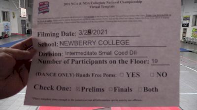 Newberry College [Virtual Intermediate Small Coed Division II Prelims] 2021 NCA & NDA Collegiate Cheer & Dance Championship