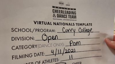 Curry College [Open Pom Virtual Finals] 2021 UCA & UDA College Cheerleading & Dance Team National Championship