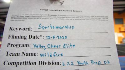 Valley Cheer Elite - Wildfire [Level 2.2 L2.2 Youth - PREP] Varsity All Star Virtual Competition Series: Event VI
