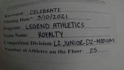 Legend Athletics - Royalty [L2 Junior - D2 - Medium] 2021 Spirit Festival Virtual Nationals