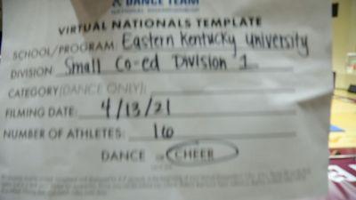 Eastern Kentucky University [Virtual Small Coed Division I Semi Finals] 2021 UCA & UDA College Cheerleading & Dance Team National Championship