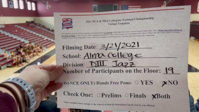 Alma College [Virtual Jazz Open Prelims] 2021 NCA & NDA Collegiate Cheer & Dance Championship