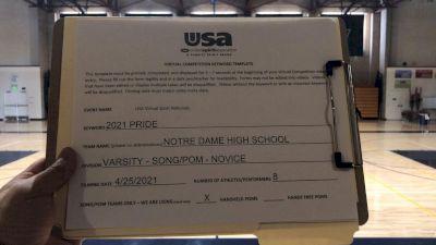 Notre Dame High School [Varsity - Song/Pom - Novice Finals] 2021 USA Spirit & Dance Virtual National Championships