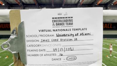 University of Miami [Small Coed Division IA Virtual Semi Finals] 2021 UCA & UDA College Cheerleading & Dance Team National Championship