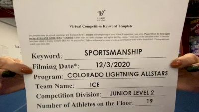 Colorado Lightning Athletics - ICE [Level 2 L2 Junior - D2 - Small - B] Varsity All Star Virtual Competition Series: Event VI