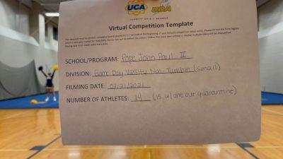 Pope John Paul II High School [Game Day Small Varsity - Non-Tumble] 2021 UCA February Virtual Challenge