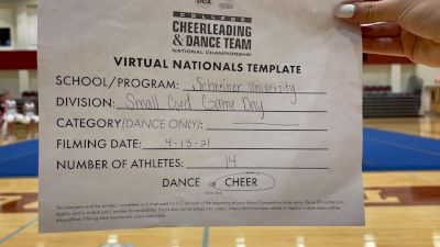 Schreiner College [Virtual Small Coed Game Day - Cheer Semi Finals] 2021 UCA & UDA College Cheerleading & Dance Team National Championship