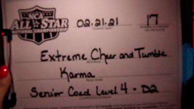 Extreme Cheer & Tumble - Karma [L4 Senior Coed - D2 - Small] 2021 NCA All-Star Virtual National Championship