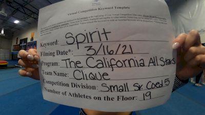 The California All Stars - Clique [L5 Senior Coed - Small] 2021 PacWest Virtual Championship