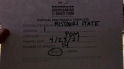 Missouri State UniversitySpringfield [Division I Pom Virtual Finals] 2021 UCA & UDA College Cheerleading & Dance Team National Championship