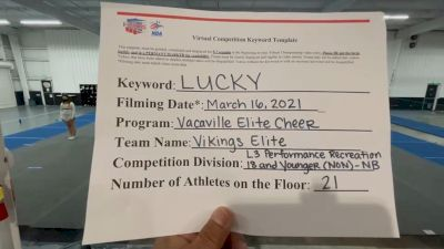 Vacaville Elite Cheer - Vikings Elite [L3 Performance Recreation - 18 and Younger (NON) - NB] 2021 NCA & NDA Virtual March Championship