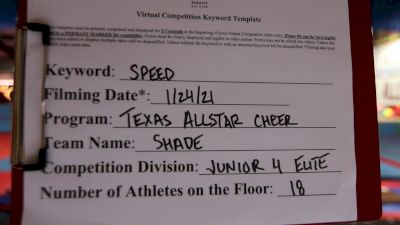Texas Allstar Cheer and Dance - Shade [L4 Junior - D2 - Small] 2021 Varsity All Star Winter Virtual Competition Series: Event I