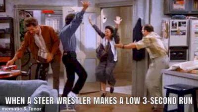 When A Steer Wrestler Makes A Low 3-Second Run