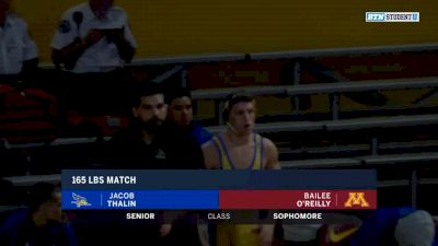 165lbs Match: Bailee O'Reilly, Minnesota vs Jacob Thalin, CSU Bakersfield