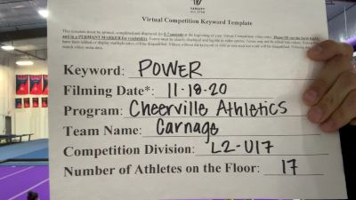 CheerVille Athletics NV - Carnage [L2 - U17] Varsity All Star Virtual Competition Series: Event V