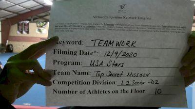 USA Stars - top secret misS1on [Level 1 L1 Senior - D2] Varsity All Star Virtual Competition Series: Event VII